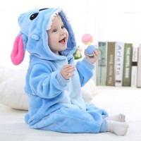 Unisex-baby Spring and Autumn Flannel Romper Outfits Suit