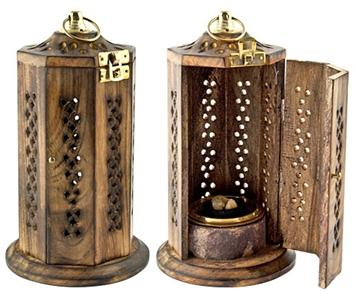 """Image of Brass Screen Charcoal Tower Burner for Resin Incense - 8""""H, 4""""D"""
