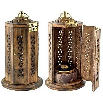"""Brass Screen Charcoal Tower Burner for Resin Incense - 8""""H, 4""""D"""