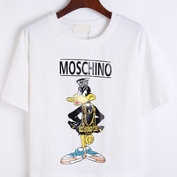Moschino Cartoon Character Print White Crop Shirt