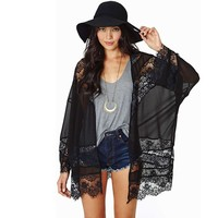 Kimono-style Dressing Gown Flowers Lace Stitching Cardigan (l)