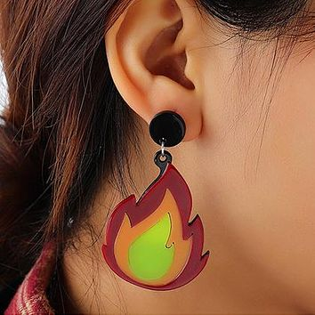 Personalized flame acrylic earring creative exaggerated color matching flame earring