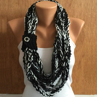 black and white hand crochet chain Infinity scarf - necklace scarf gift or for you