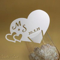 Wedding place cards. Heart place cards (20pc+) Escort name cards. Wine glass placecards. Table decoration. Two love hearts