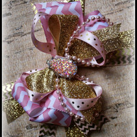 """PINK and GOLD, 6.5"""", ott bow, lace headband, hairbow, baby girl, toddler, child, kids, glitter, chevron, fancy, photo prop, infant"""