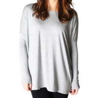 Authentic Piko Long Sleeve Top, Heather Grey