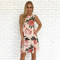 Rollin in Roses Shift Dress in Pale Pink