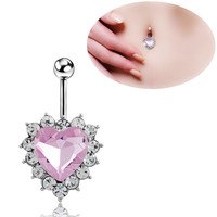 New Charming Dangle Crystal Navel Belly Ring Bling Barbell Button Ring Piercing Body Jewelry = 4661796548
