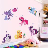 Factory Price My Little Pony 3d cartoon wall stickers for kids rooms Kid Wall decals room home decoration 1425