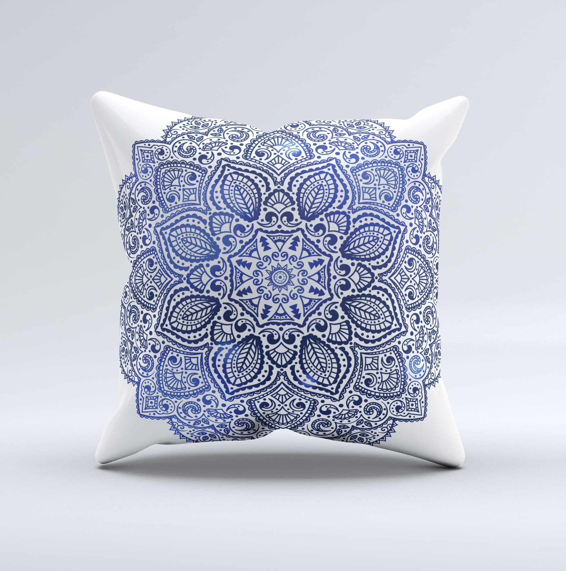Image of The Dark Blue Indian Ornament ink-Fuzed Decorative Throw Pillow