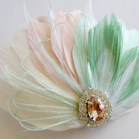 Gatsby Headpiece, 1920s, Peacock, Bridal Head Piece, Peacock Feather, Fascinator, Wedding Hair Accessory