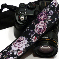Roses Camera Strap, Flowers Camera Strap, Black Purple Camera Strap, Gift for photographer, Nikon, Canon Camera Strap, Women Accessories