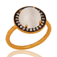 22K Yellow Gold Plated 925 Sterling Silver White Moonstone And White Zircon Ring