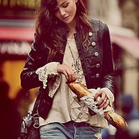 Free People  Military Vegan Leather Jacket at Free People Clothing Boutique