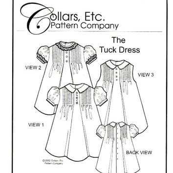 Girls The Tuck Dress Collars Etc Pattern Collar Sleeve Variations Embroidery Special Occasion Heirloom Sewing Patterns Uncut Size 5 6
