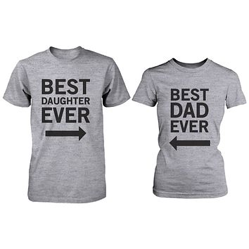 Matching Grey T-Shirts Set For Dad and Daughter - Best Dad / Beast Daughter