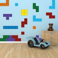 Full Color Wall Decal Tetris Art Stickers Video Game Decals Kids Room 24 Tetris Pieces Mcol42