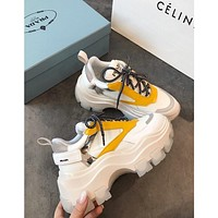 Prada Leather And Nylon Sneakers White/yellow