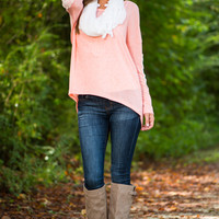 Lace To Arms Top, Coral
