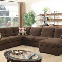3 pc Evelyn collection brown fabric upholstered sectional sofa with pull out sleeper