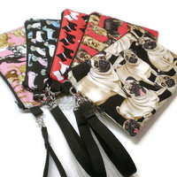 Dogs breed zippered phone wristlet purse. Choose from: Chiwawa, Dachshund, Pug, Yorkie, Scottish Terrier. Dog lover gift idea under 25.