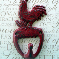 Rooster Red Shabby Style Chic Cast Iron Wall Pet Leash Key Jewelry Hand Towel Hook Rustic French Country Kitchen Mudroom Farmhouse Hook