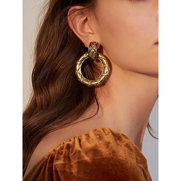 2pairs Textured Round Earrings