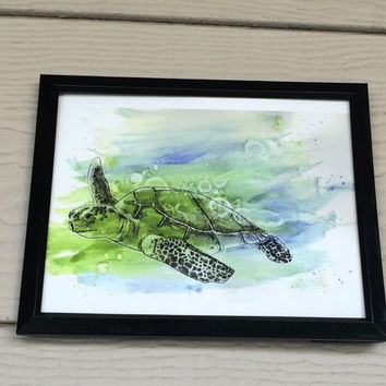 Sea Turtle Mixed Media Painting 8x10 Art Print Watercolor Ink Turtle Painting Ocean Animals Paintings Wall Art Decor Watercolour