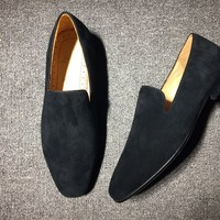KUYOU Christian Louboutin Slip On CL fashion casual shoes red sole for men and women jeans 90523