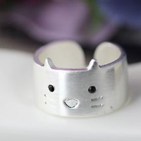 1pc Kitty Ring Simple Animal Wide Open Band Ring Jewelry Cat Ring Size 7.5 US