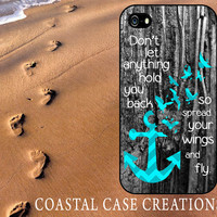 Wood Turquoise Chevron Quote Apple iPhone 4 and 5 Protective Hard Plastic or Rubber Phone Case Original Trendy Stylish Design