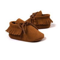 Baby Boy Girl Moccasins Moccs Shoes First Walkers Bebe Fringe Soft Soled Non-slip Footwear Crib Shoes PU Suede Leather Newborn