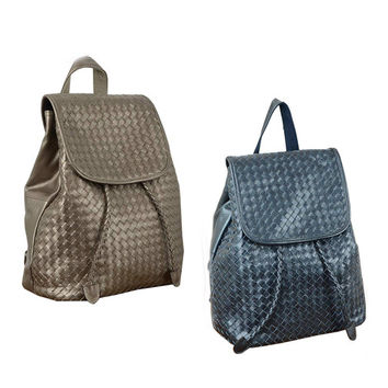 New 2016 ms backpack The first layer cowhide backpack Woven shoulder bags-Color Grey