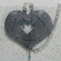 Puzzle Heart Necklaces set of 3 Personalized polymer clay pendants Optional Crystals