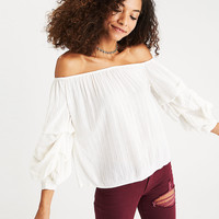 AEO Off-the-Shoulder Tiered Puff Sleeve Top, White