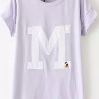 Purple Short Sleeve M Mickey Embroidered T-Shirt
