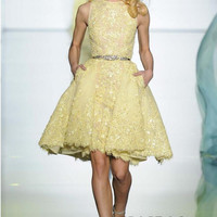 Tanya Short Mini Yellow Beads Cocktail Dresses 2017 New Style A Line Party Dress Homecoming Dress Gown Custom Made TB1702