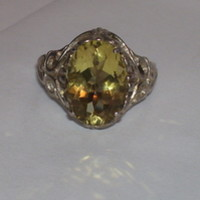 New Sterling Silver Ring Sz 6.5 NEW WO TAG 4.60ct Lemon Quartz Oval Vintage Look