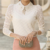 Women Lace blouse, Fashionable and Elegant White Long Sleeve Chiffon Blouse