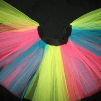 Plus Size multi rainbow  uv neon dance stripe tutu skirt fancy costumes rave