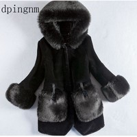Winter Luxury Faux Fox Fur Coat Slim Long Black  Red Blue Faux Fur Jacket Women Fake Fur Coats manteau