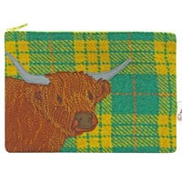 Highland cow Harris Tweed purse, cosmetic pouch, green, yellow