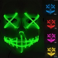 Horror Scary Face Halloween Mask Skull Party Masks Adult Decoration Led Supplies