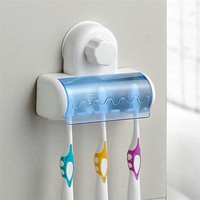 5 Racks Dust-proof Toothbrush Holder Bathroom Kitchen Family Toothbrush Suction Cups Holder Wall Stand Hook
