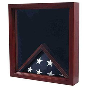 Military Flag and Medals Display Case Cabinet