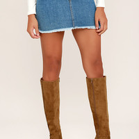 Tennessee Chestnut Suede Knee High Heel Boots