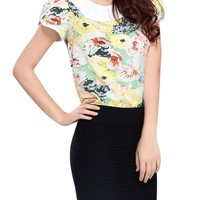 Allegra K Women Elegant Peter Pan Collar Petal Sleeve Floral Summer Tops