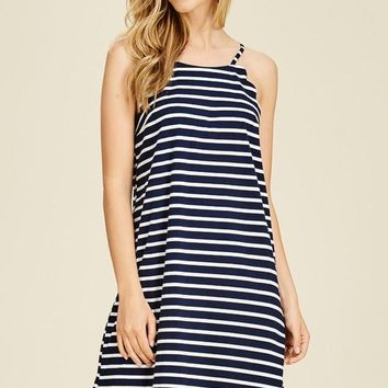 Navy Striped Scallop Dress