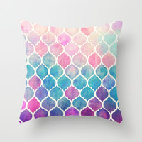 Rainbow Pastel Watercolor Moroccan Pattern Throw Pillow by Micklyn | Society6