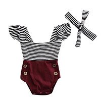 Summer Newborn Baby Girl Clothes Striped Romper Baby Bodysuit+Headband 2PCS Outfits Sunsuit Children Clothes